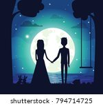 Silhouette Of Couple At Night ...