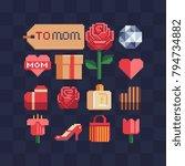 pixel art icons. element for... | Shutterstock .eps vector #794734882