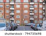 facade of a block apartment at... | Shutterstock . vector #794735698