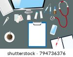 top view of a medical table... | Shutterstock .eps vector #794736376