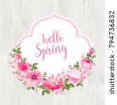 hello spring card over gray... | Shutterstock .eps vector #794736832