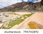 rests of water and an old dam... | Shutterstock . vector #794742892