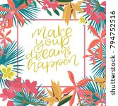 tropical card for invitation ... | Shutterstock .eps vector #794752516
