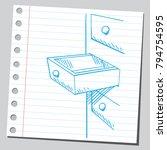 open drawer  sketch style... | Shutterstock .eps vector #794754595