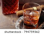glass of scotch whiskey with... | Shutterstock . vector #794759362