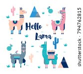 Cute Lamas with mountains and cactus in vector. Perfect for posters, stickers, greeting cards, notebooks and other childish accessories.