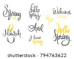 hello spring   hand drawn ... | Shutterstock .eps vector #794763622