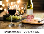 two glass of red wine and white ... | Shutterstock . vector #794764132
