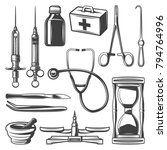 vintage medical icons... | Shutterstock .eps vector #794764996