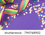 colorful streamers and confetti ... | Shutterstock . vector #794768902