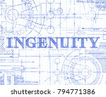 ingenuity sign and gear wheels... | Shutterstock .eps vector #794771386