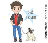 hand drawn cartoon boy with dog ... | Shutterstock .eps vector #794775448