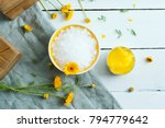 calendula cream  bath salt ...   Shutterstock . vector #794779642
