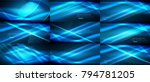 set of vector neon smooth wave... | Shutterstock .eps vector #794781205
