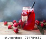 Iced Roselle Tea Glass  With...