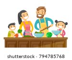 young caucasian white parents... | Shutterstock .eps vector #794785768