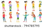 caucasian white children and... | Shutterstock .eps vector #794785795