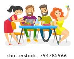 caucasian white group of young... | Shutterstock .eps vector #794785966