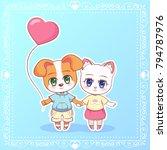 sweet little cute kawaii anime... | Shutterstock .eps vector #794787976