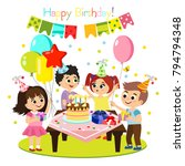 vector illustration of kids... | Shutterstock .eps vector #794794348