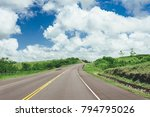 road crossing the forest with... | Shutterstock . vector #794795026