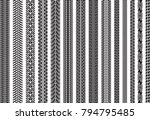 tire tracks of various vehicles | Shutterstock .eps vector #794795485