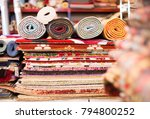 carpets of different colours in ... | Shutterstock . vector #794800252
