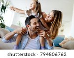 happy family having fun times... | Shutterstock . vector #794806762