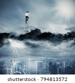businessman on a ladder escapes ... | Shutterstock . vector #794813572