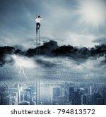 businessman on a ladder escapes ... | Shutterstock . vector #794813572