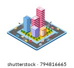 colorful 3d isometric city of... | Shutterstock .eps vector #794816665