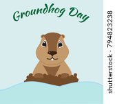 groundhog day card | Shutterstock .eps vector #794823238