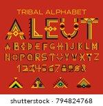 tribal aleut alphabet. native...   Shutterstock .eps vector #794824768