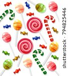 lollipop and candy pattern... | Shutterstock .eps vector #794825446