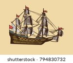 medieval sailing ship with red... | Shutterstock .eps vector #794830732