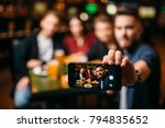 fun friends makes selfie on... | Shutterstock . vector #794835652