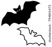 halloween black bat icon set....   Shutterstock .eps vector #794841472