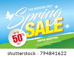 spring sale banner template... | Shutterstock .eps vector #794841622