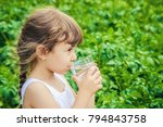 child glass of water. selective ... | Shutterstock . vector #794843758