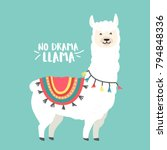 Cute Cartoon Llama Vector...