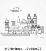 linear illustration of prague ... | Shutterstock .eps vector #794850628
