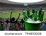 bucket with ice and bottles of... | Shutterstock . vector #794853028