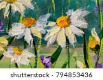 oil painting of white daisies... | Shutterstock . vector #794853436