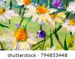 oil painting of white daisies... | Shutterstock . vector #794853448