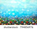 oil painting purple cosmos... | Shutterstock . vector #794856976