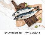 Stock photo mackerel fish on background 794860645