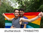 gay couple embracing with... | Shutterstock . vector #794860795