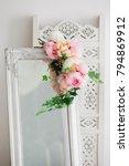 vintage beautiful white mirror... | Shutterstock . vector #794869912