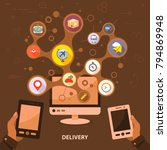 delivery flat icon concept.... | Shutterstock .eps vector #794869948