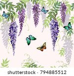 Stock vector seamless vector floral summer pattern background with tropical japanese flowers butterflies 794885512